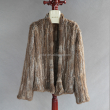 QC1019 new collection real rabbit fur knit quality cardigan coat jacket