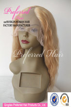 Best seller blond color Loose wave Peruvian human hair u part wig factory price