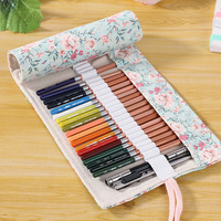 Wholesale Handmade 36 Holes Canvas Flower Floral Pencil Case For Girl