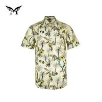 Factory direct fashion custom woven button men hawaiian shirts sublimation