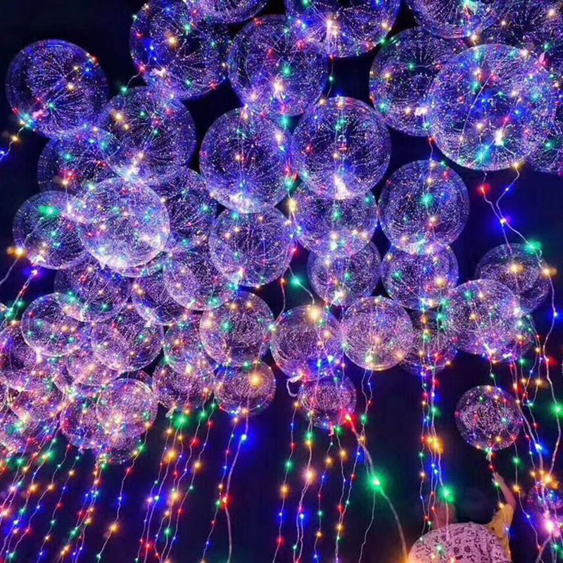 2017 18 Inch Hot Inflatable Led Glowing Helium Balloon Light Transparent Bubble Bobo Confetti Decoration Balloon For Party