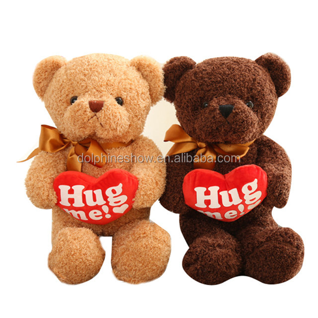 Online Wholesale Shop Plush toy Couple Teddy Bear With Red Heart For Valentine