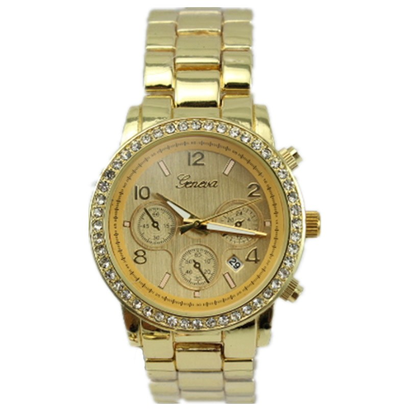 geneva top luxury brand with Rhinestone business calendar alloy metal strap mens new fashion dress quartz watch