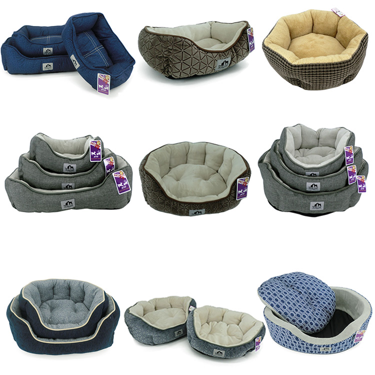 Pet Accessories Factory Direct Selling covered Pet Dog Beds with removable mat