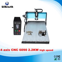 Best high speed version 2.2kw power wood working 6090 4 axis cnc router machine for metal, aluminum, copper milling cutting