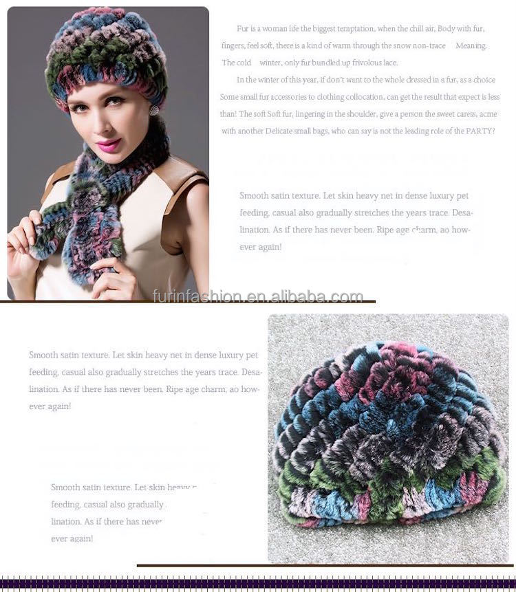 2017/2018 New Product Genuine Knit Rex Rabbit Fur Hat for Fashion Girls