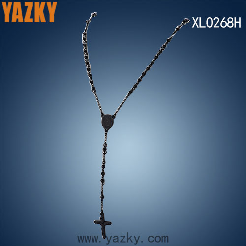 Latest fashion design 316L stainless steel black plated beads chain necklace with religious plate and cross pendant