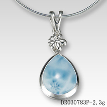 Larimar Pendants Blue Stone Natural Larimar 925 Sterling Silver Jewelry Wholesale DR030777P