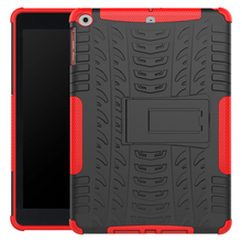Rugged tyre pattern Slim armor case for iPad 9.7' 2018 with kickstand