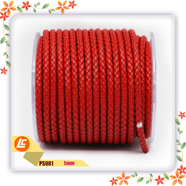 red genuine leather cord for necklace dogleash 5mm round braided leather cord