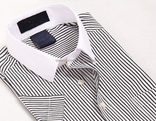 Elegant design short sleeve contrast collar striped office shirts for men