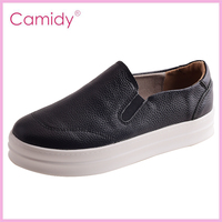 Black slip on leather comfort casual shoes for women
