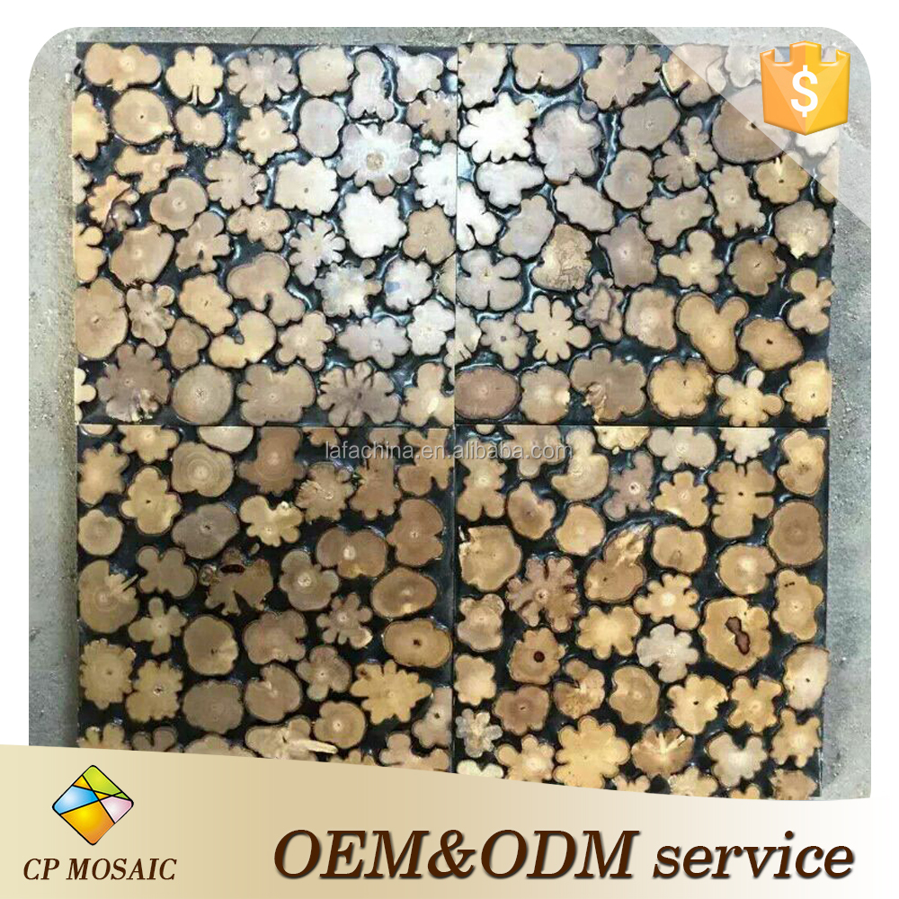 The Philippines Style Natural Wood Mosaic Wall Tiles