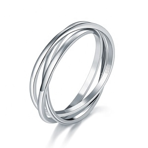 Sterling Silver 925 Ring Triple Interlocked Rolling High Polish Ring