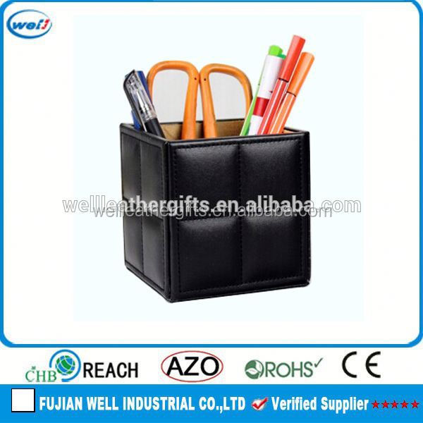 Square black metal mesh pen holder for car