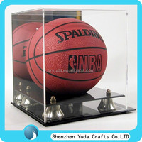 best selling clear acrylic basketball display case with magnet crystal plexiglass display box case for basketball high quality