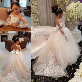 ZH3792G Long Sleeves Flower Girls Dresses Lace Appliques Beads Bow Sheer Neckline Girl Pageant Kids Birthday Communion Dress