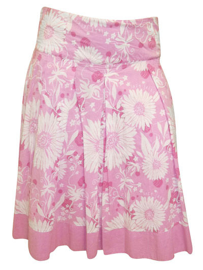 Lazy Jacks Pink Floral Print Dropped Waist Knee Length Skirt - Size 8 to 18
