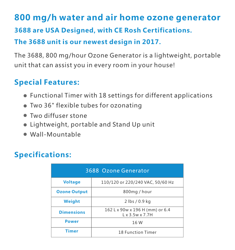 NEW Unit 800 mg/h with 18 function timer home ozone generator