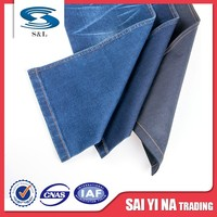 Cotton poly spandex denim fabric dark blue grey denim twill denim fabric