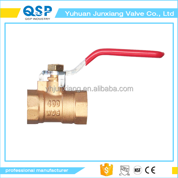 Brass color on the surface of one side is an outer thread is threaded with a long handle ball valve