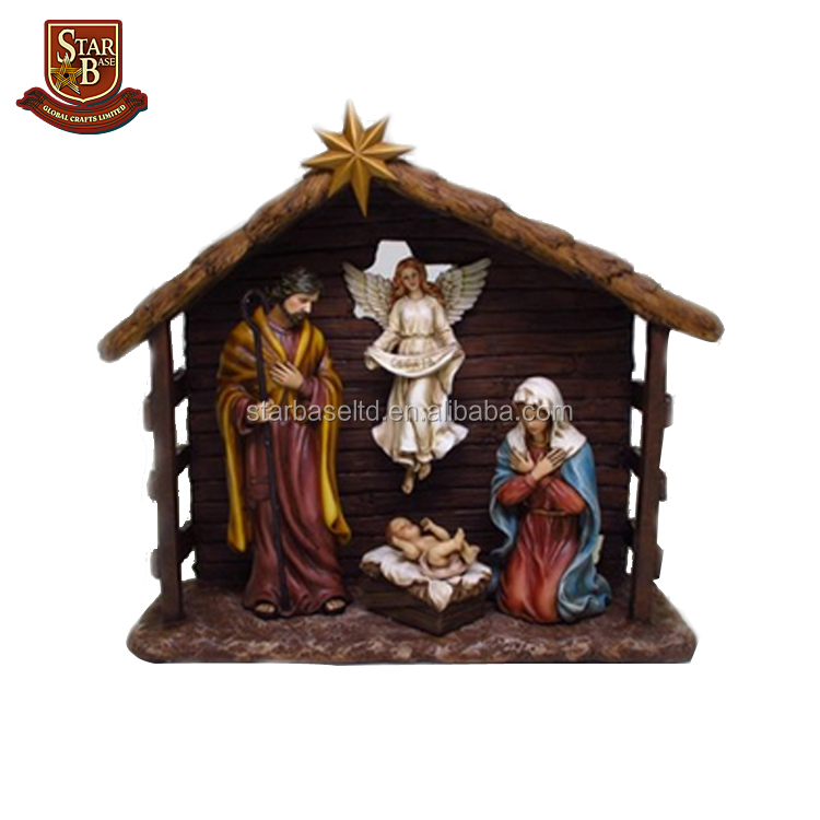 Handmade resin crafts resin births of jesus staute for home decoration