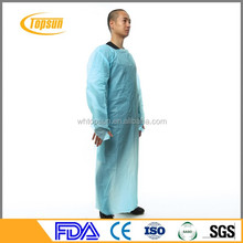 Blue 30-100g Disposable PPE Gown , CPE Surgical Gown , surgical Gown with thumb loop cuff