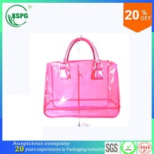 Large capacity clear plastic zipper bag with handle