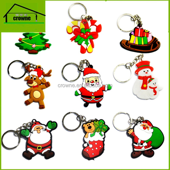 cute Santa Claus cartoon shape custom 3d soft promotional gifts pvc rubber keychain