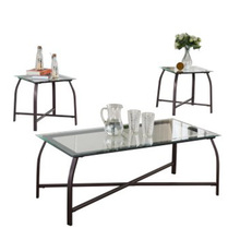 factory direct sales outdoor 3 Piece Metal & Glass Top Occasional Cocktail glass coffee table & 2 End Tables Set