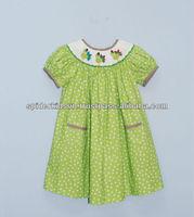 Baby Girl Lime Polka Dot Smocked Pumpkin Bishop Dress