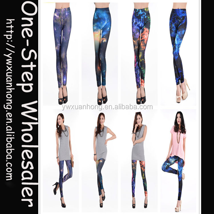 Wholesale Big stretch free size women adult hot sex photo galaxy leggings