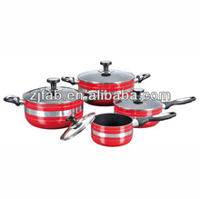 8pcs spiral aluminum nonstick cookware set with temperature knobs