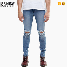wholesale custom new style blue ripped urban star jeans for men