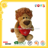Wholesale custom nici animal toys plush lion with red loving heart
