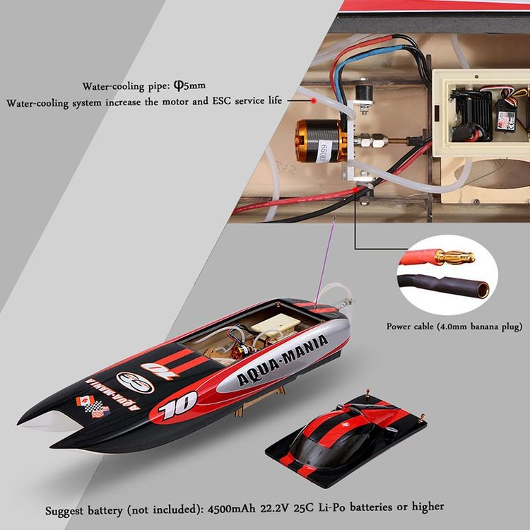 225bl075ap-Original Aqua Mania 1300bp (A) 60km-H High Speed RTR Electric Fiberglass RC Boat with 2.4G Pistol Transmitter