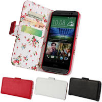 Red with Floral Interior PU Leather Wallet Case for HTC One M8