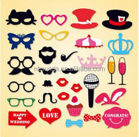High Quality 31 New Photo Props Moustache Hat Small Eyes Paper Beard The Wedding Party Supplies