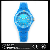 fashion colourful stainless steel case back plastic watch