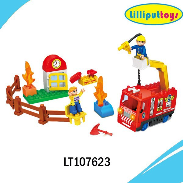 Battery operated building block toy fire truck with light and music