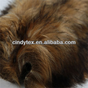 70mm long hair plushed soft chocolate brown acrylic polyester imitation raccoon fake fur fabric