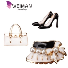 Set of 3 Fashion Pretty Lady's Handbag Hat and High-heel Shoe Enamel Brooch and Lapel Pins for Garments Bags Metal Deco Pins