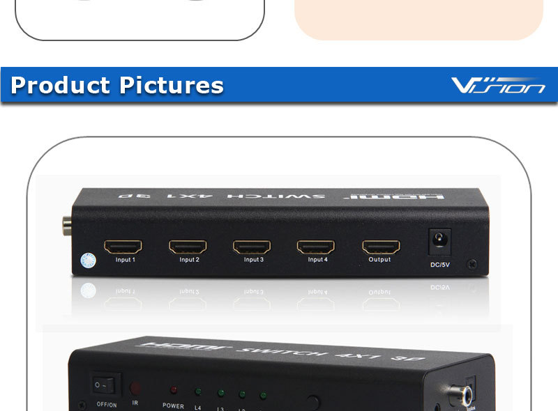 High quality 4 ports HDMI switch with toslink audio output