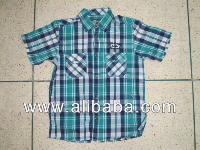 Cheap 100% Cotton Boys s/s Shirt Stock lot/Shipment cancel goods in bangladeh