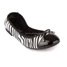 ladies fancy shoes zebra upper soft foldable flats women pump shoes