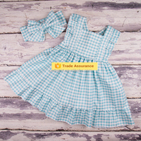Red Gingham Summer Baby Girl Dress With Big Bow Girls Fancy Dress
