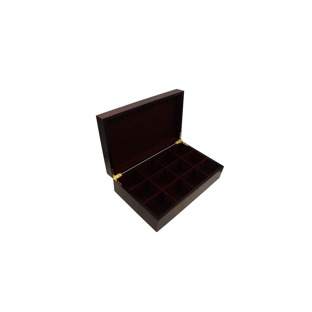 12 Grids Chinese Antique Lacquered Finish Wholesale Tea Box,Tea Presentation Box,Unfinished Wooden Tea Box