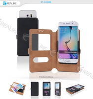 Flip pu leather case cover stand for samsung mobile, thin and slim view window cover for galaxy s4