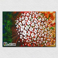 Hot selling hand painted canvas picture flower for office room