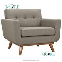 Mid-Century Modern Classic Chair armchair with gray fabric sofa